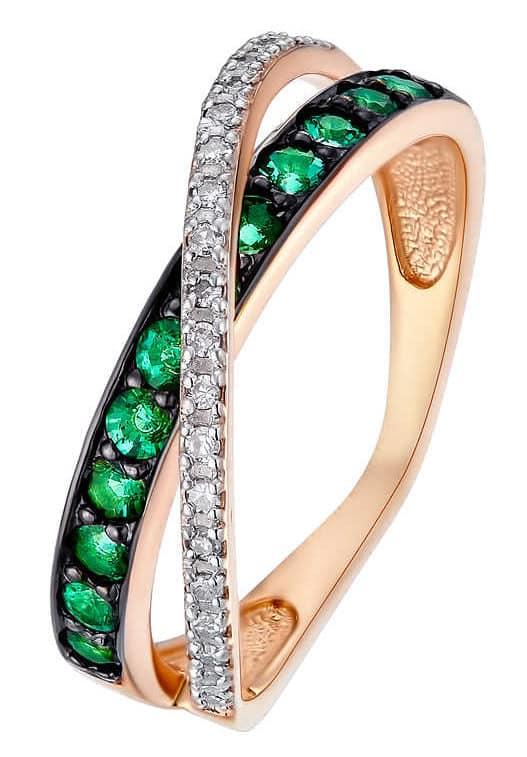 Кольцо с тёмно-зелёными изумрудами