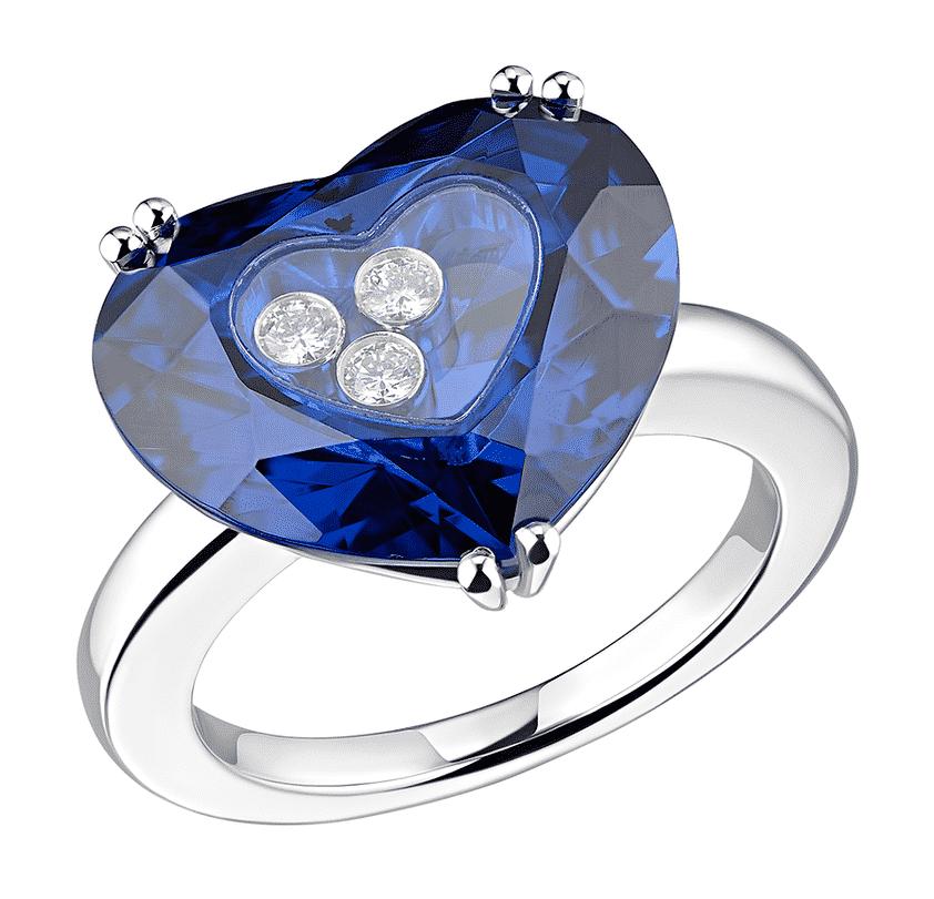 Кольцо с голубым бриллиантом