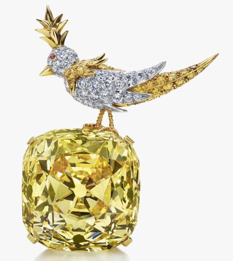 Брошь с камнем жёлтый топаз