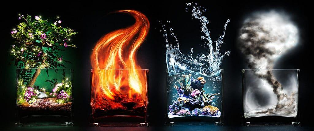 Камни стихии Огня, Воды, Воздуха и Земли